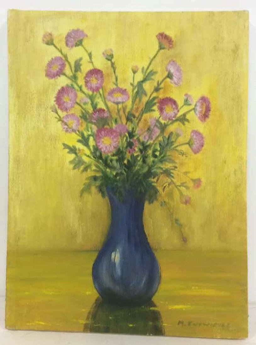 M ENTWISTLE Floral Painting On Canvas - 2