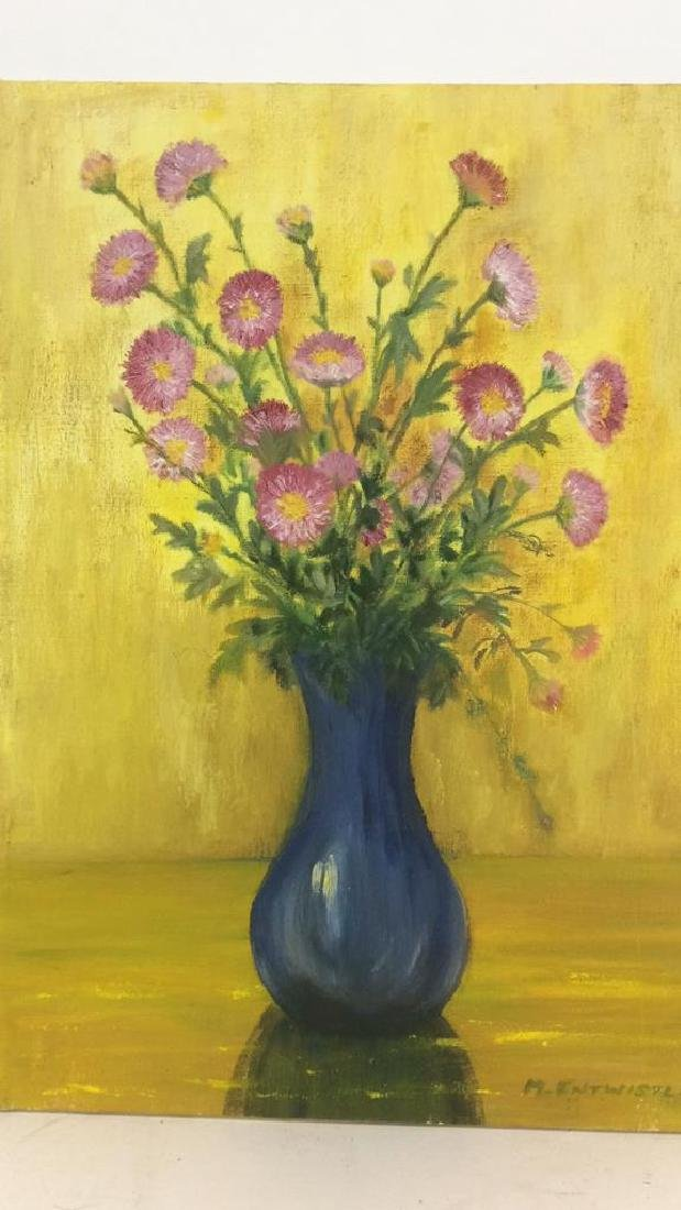 M ENTWISTLE Floral Painting On Canvas - 3