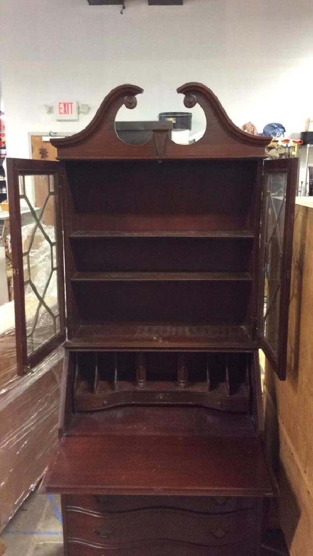 Vintage Mahogany Display Cabinet & Writers Desk - 3