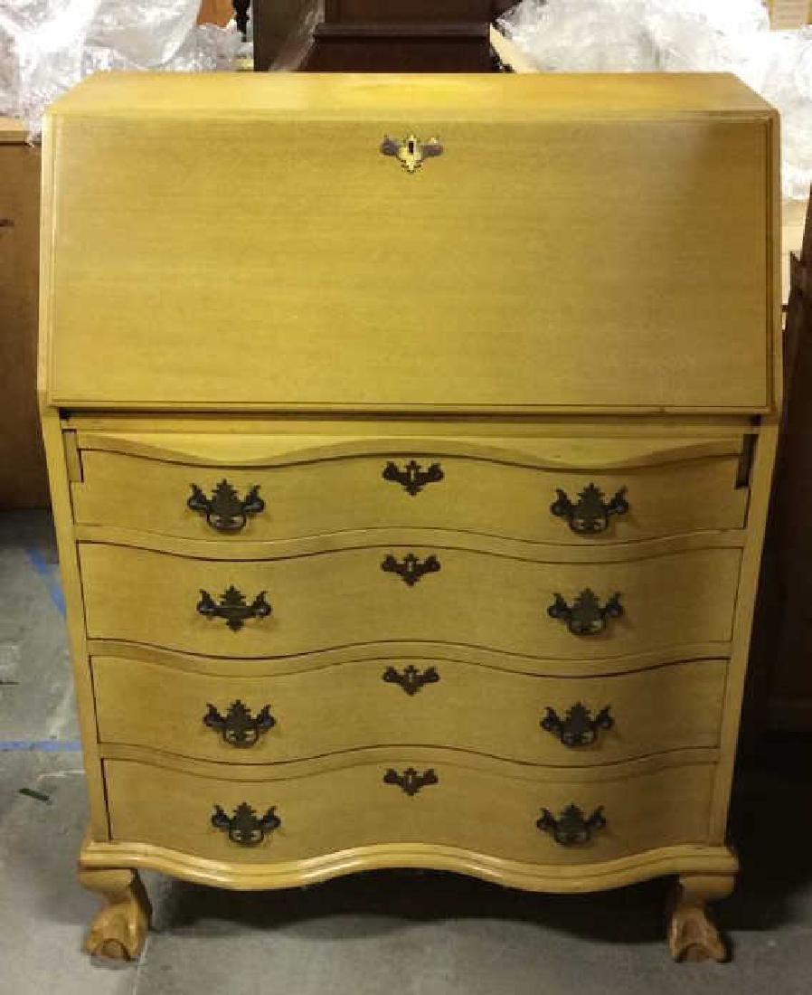 Carved Wood Drop Front  Writers Desk W Drawers