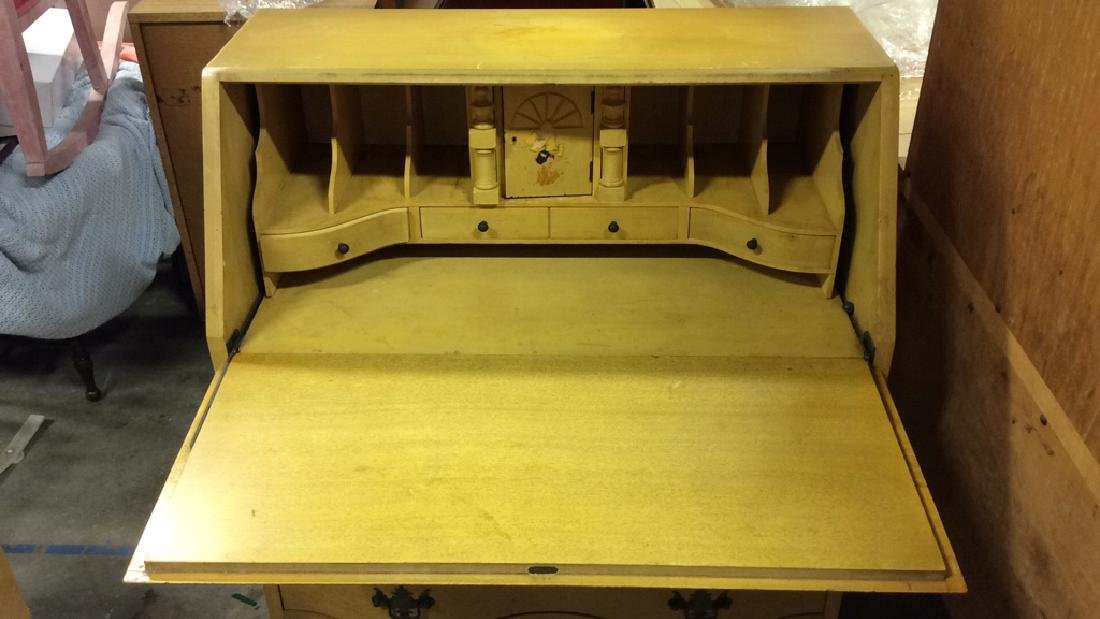 Carved Wood Drop Front  Writers Desk W Drawers - 2