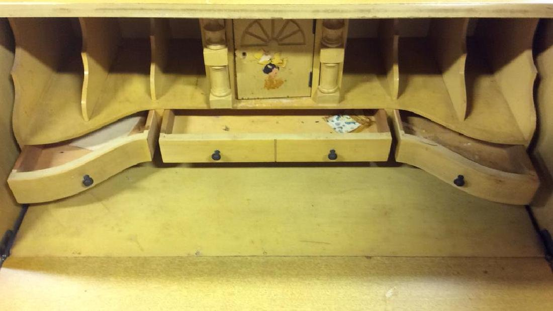 Carved Wood Drop Front  Writers Desk W Drawers - 4