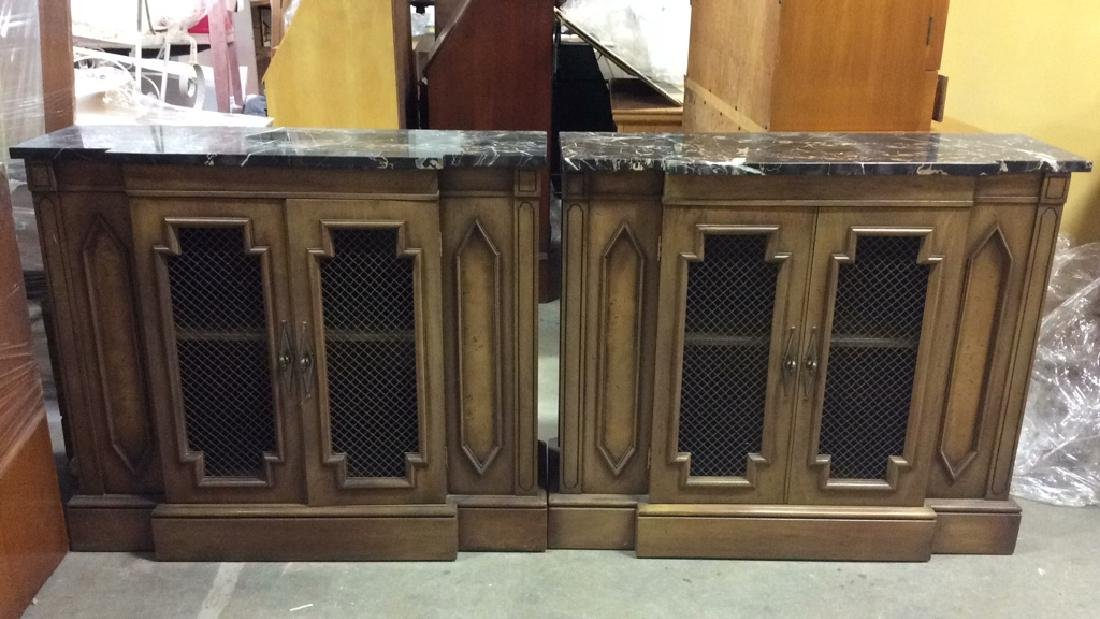 Pair Marble Top Wooden Console Cabinets