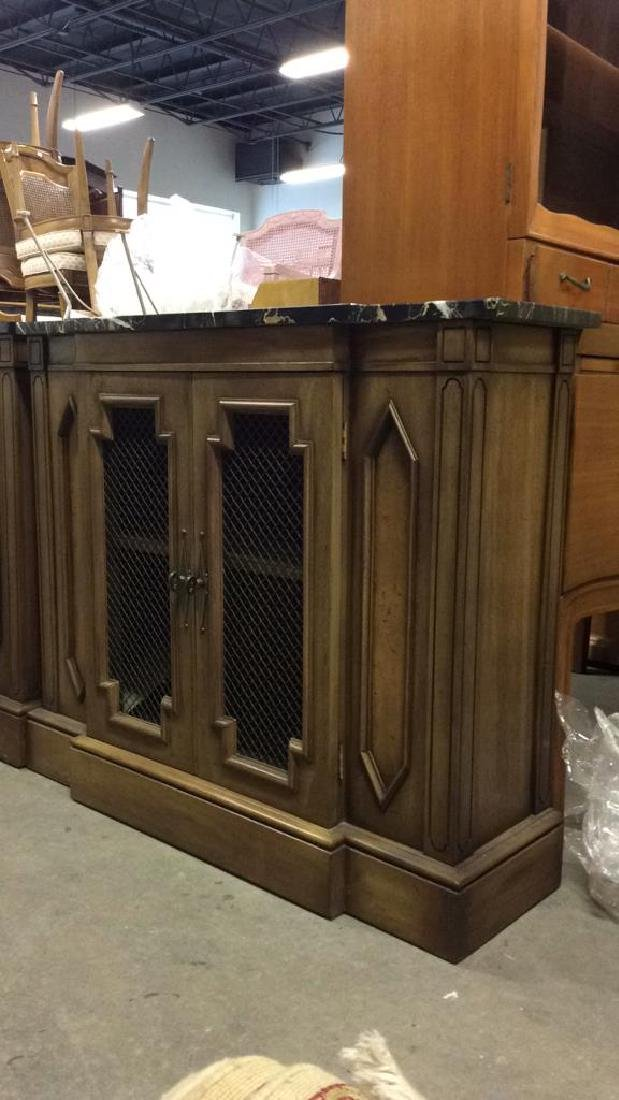 Pair Marble Top Wooden Console Cabinets - 3