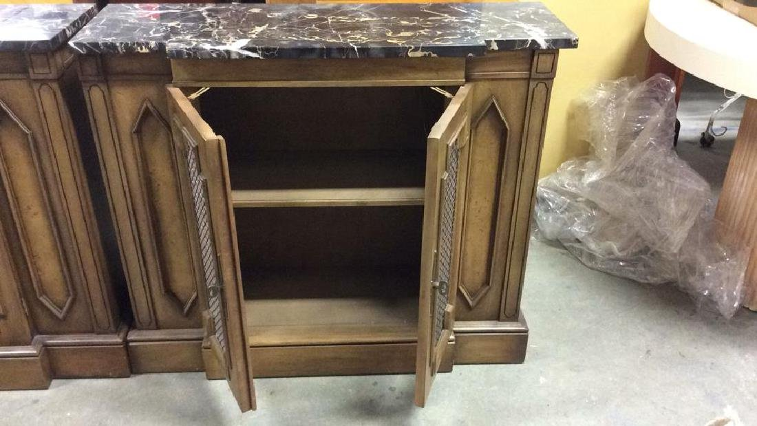 Pair Marble Top Wooden Console Cabinets - 7