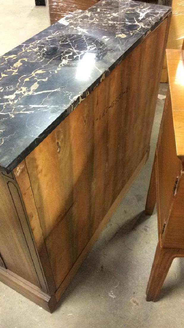 Pair Marble Top Wooden Console Cabinets - 9
