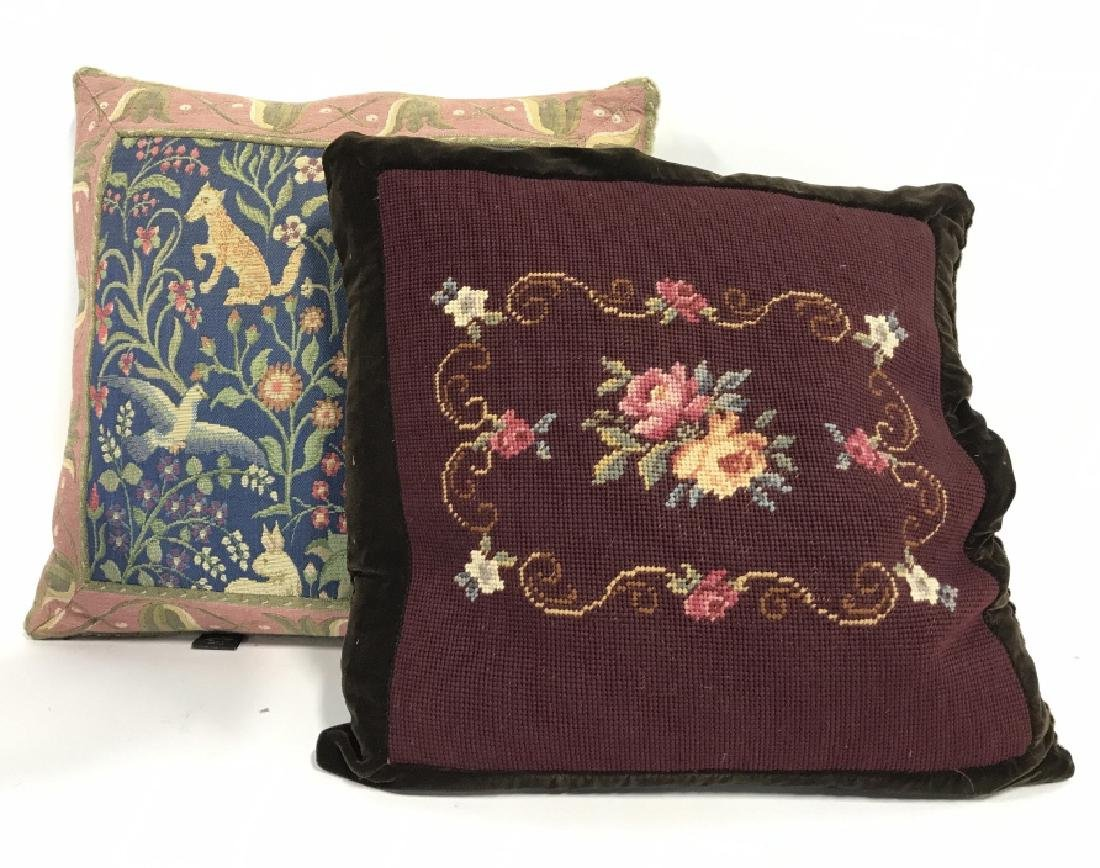 Lot 2 Embroidered Decorative Throw Pillows
