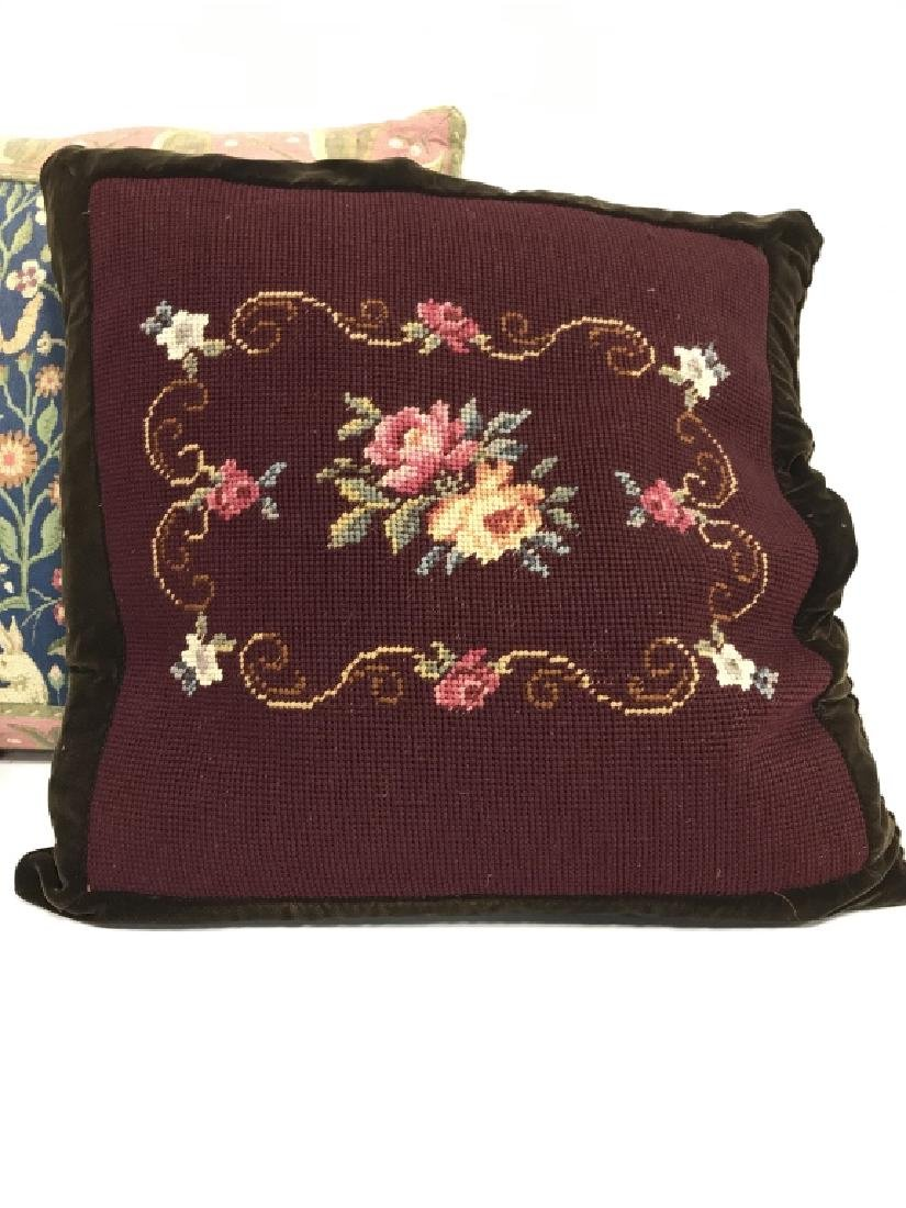 Lot 2 Embroidered Decorative Throw Pillows - 2