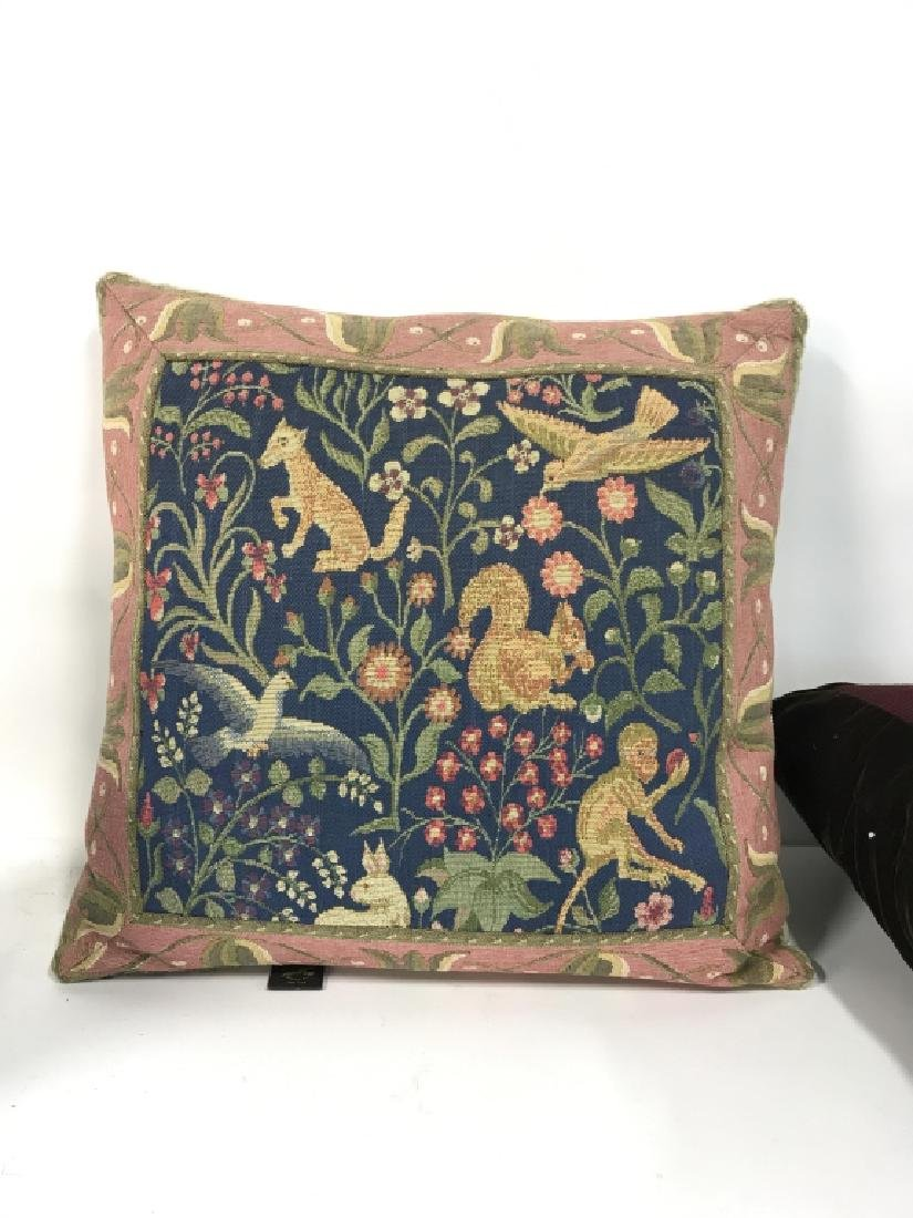Lot 2 Embroidered Decorative Throw Pillows - 5