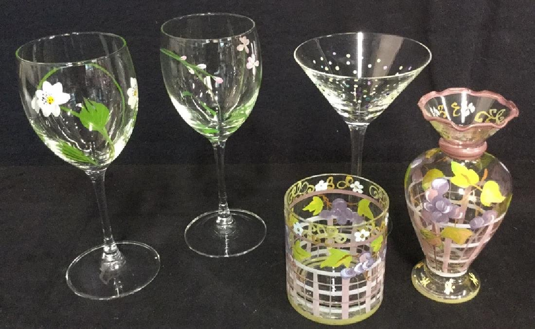 Lot 5 Hand Painted Stemware, Tumbler And Vase