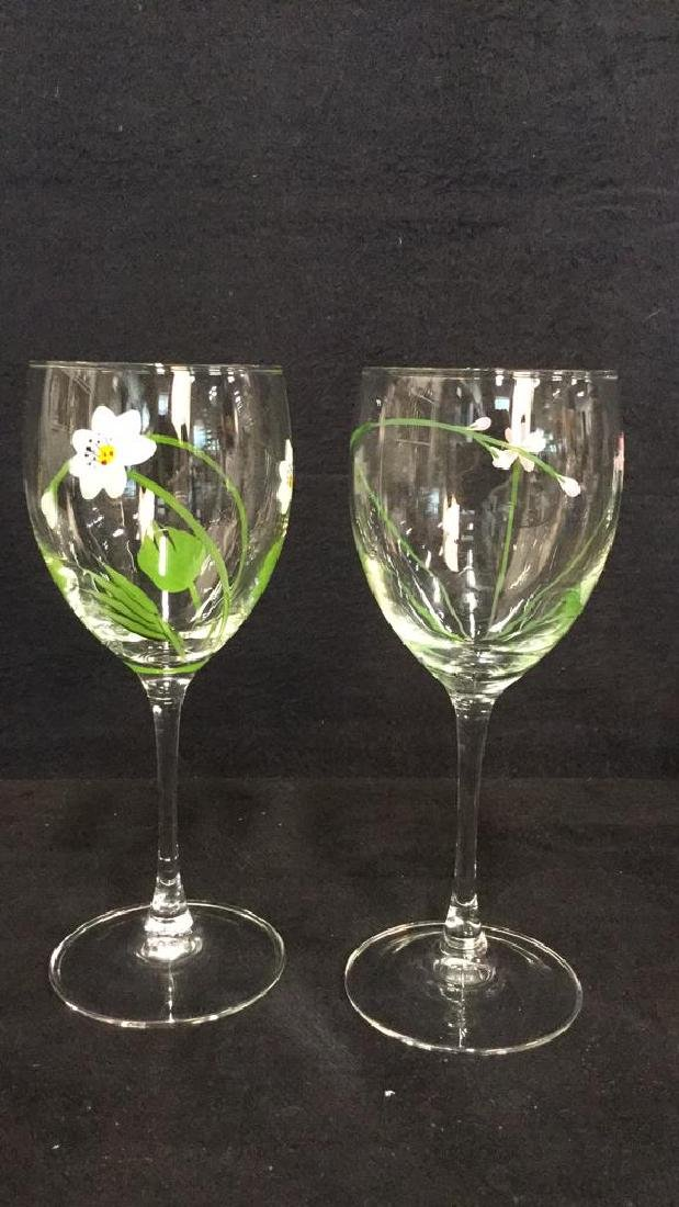 Lot 5 Hand Painted Stemware, Tumbler And Vase - 2