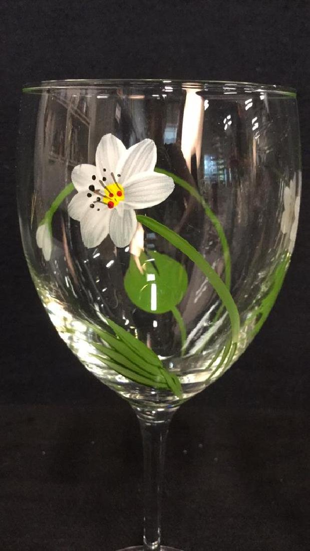 Lot 5 Hand Painted Stemware, Tumbler And Vase - 3