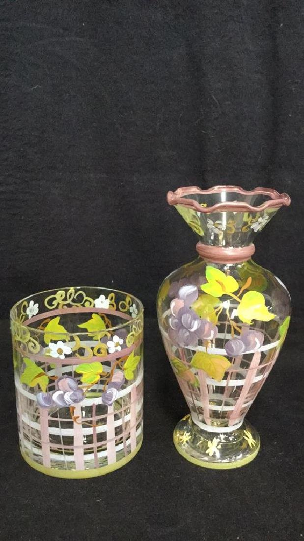Lot 5 Hand Painted Stemware, Tumbler And Vase - 7