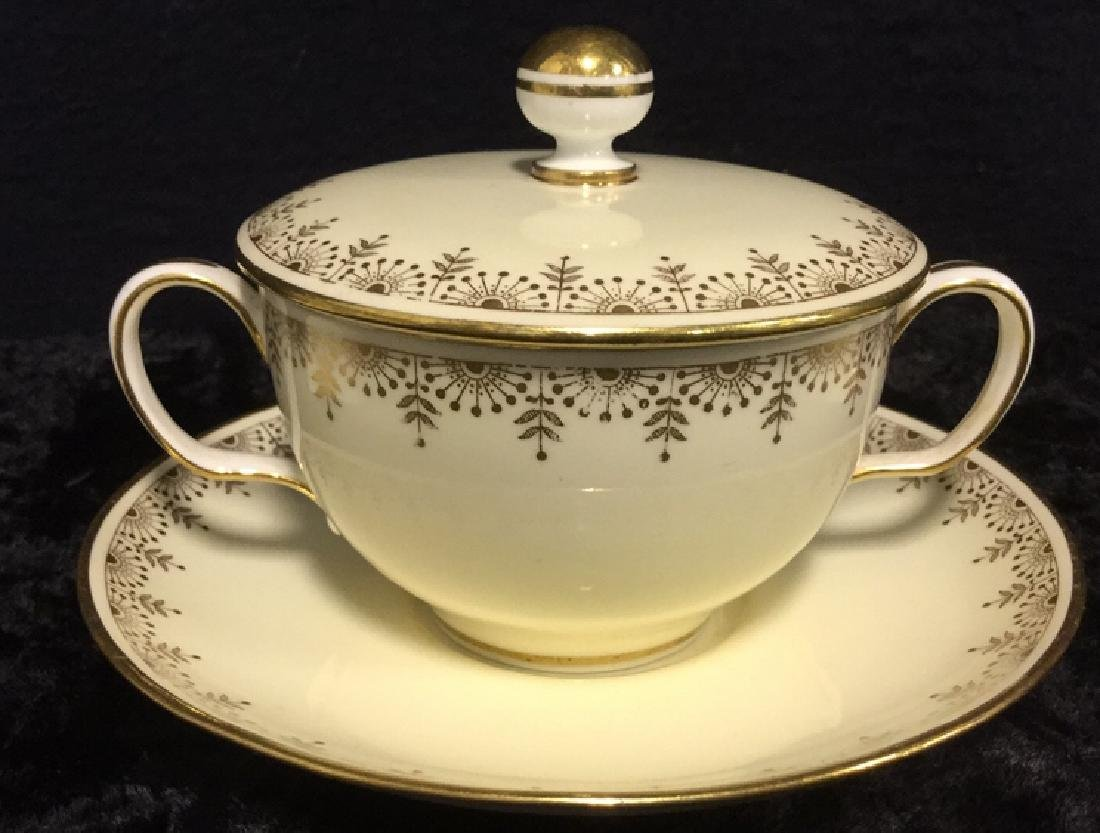 Set of 7 Minton's English Lidded Cups & Saucers