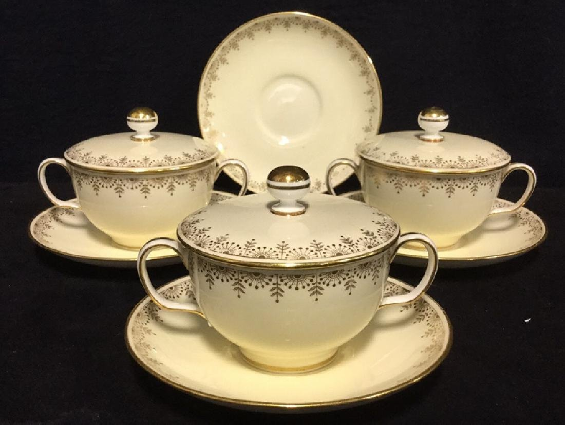 Set of 7 Minton's English Lidded Cups & Saucers - 2