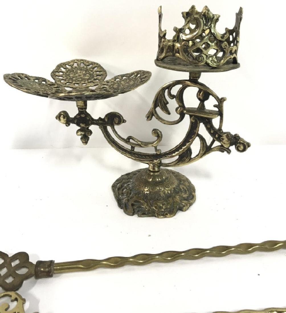 Lot 4 Brass Toned Metal Tabletop Accessories - 2