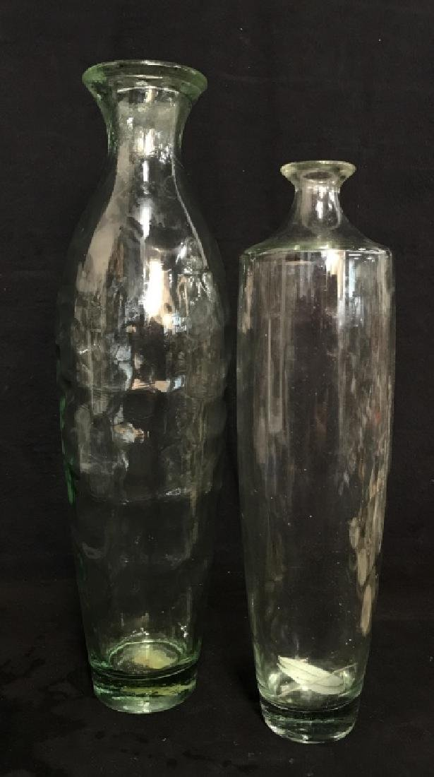 Pair Pressed Glass Flower Vases Vessels