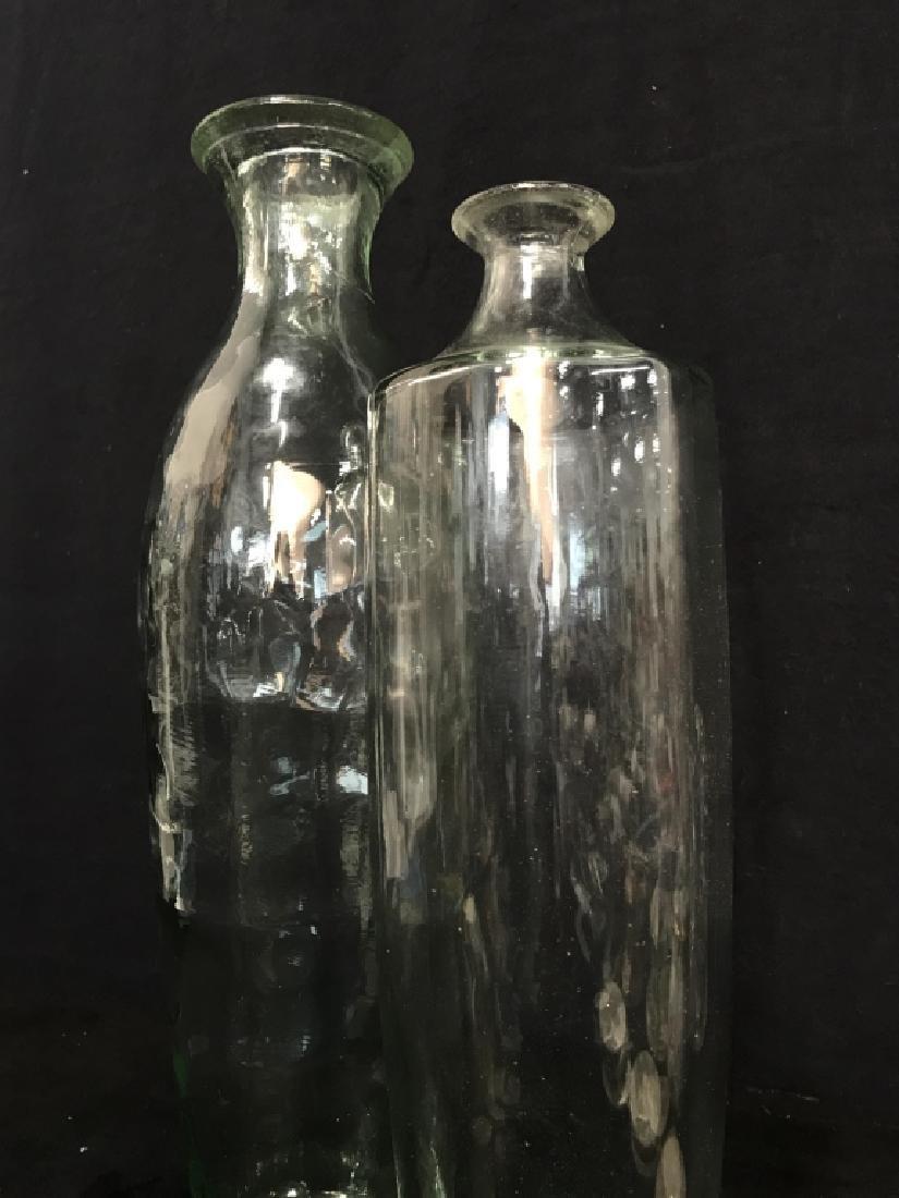 Pair Pressed Glass Flower Vases Vessels - 2