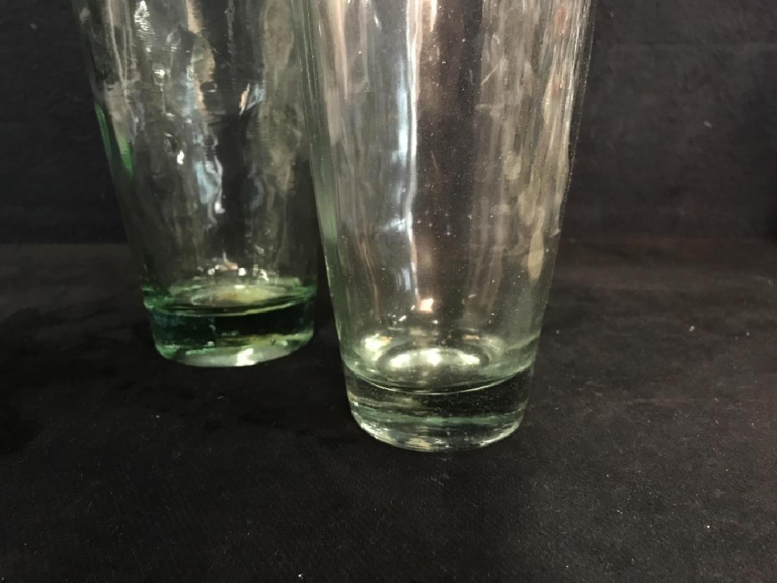 Pair Pressed Glass Flower Vases Vessels - 3
