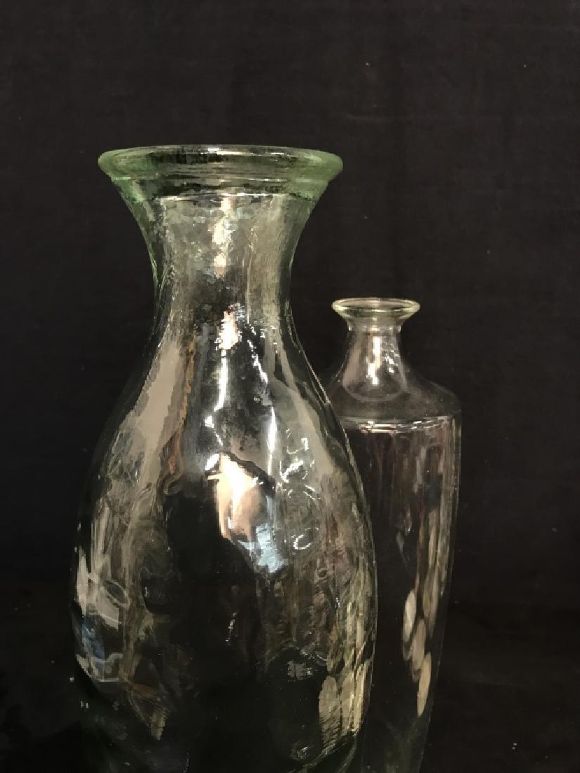 Pair Pressed Glass Flower Vases Vessels - 5