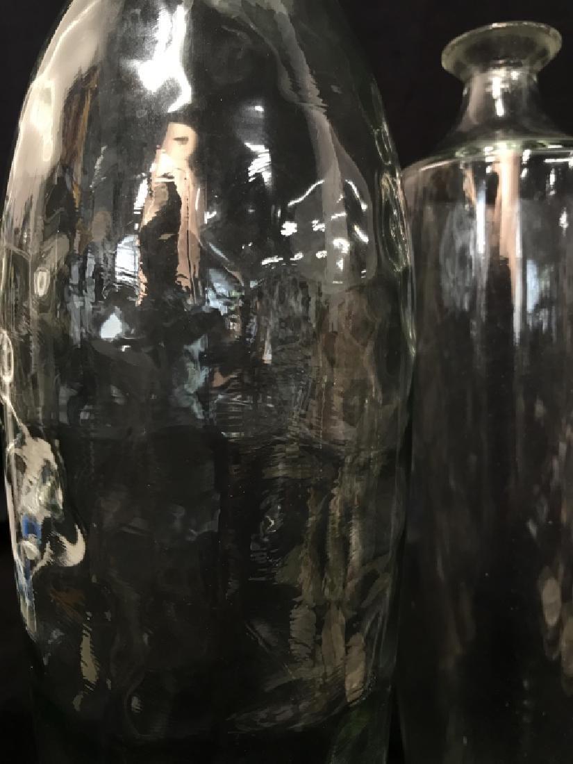 Pair Pressed Glass Flower Vases Vessels - 6