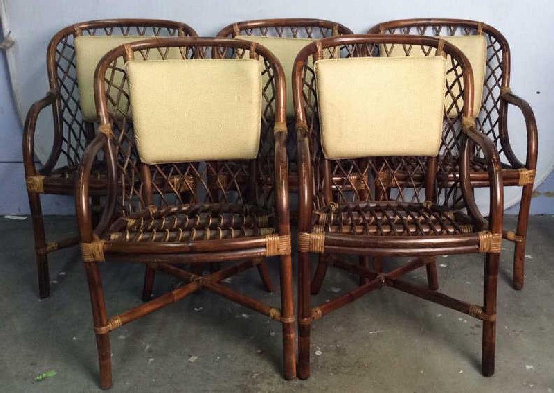 Lot 5 Bamboo and Rattan Style Chairs