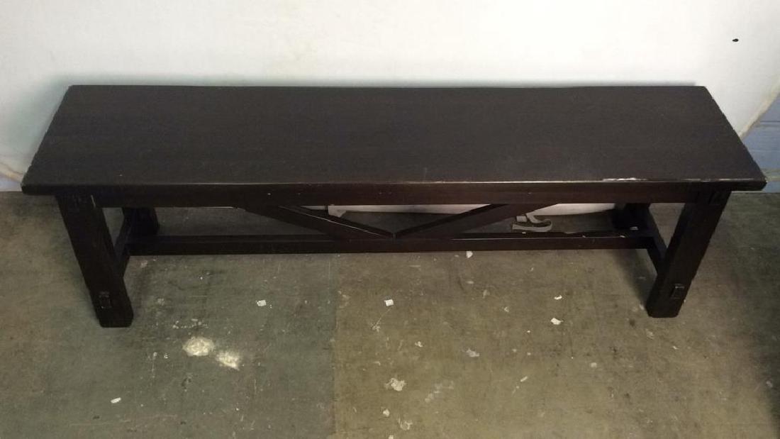 Dark Brown Toned Wooden Bench - 2