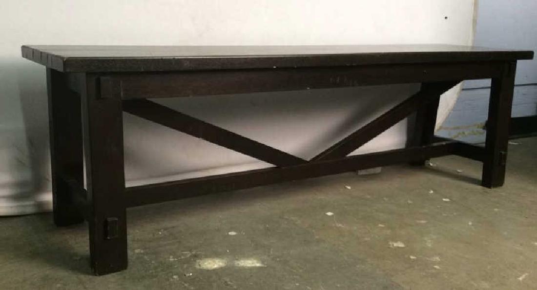 Dark Brown Toned Wooden Bench - 3