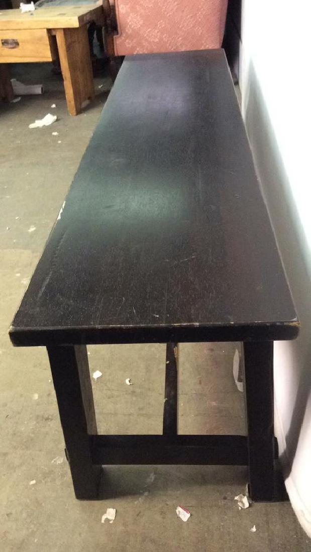 Dark Brown Toned Wooden Bench - 4