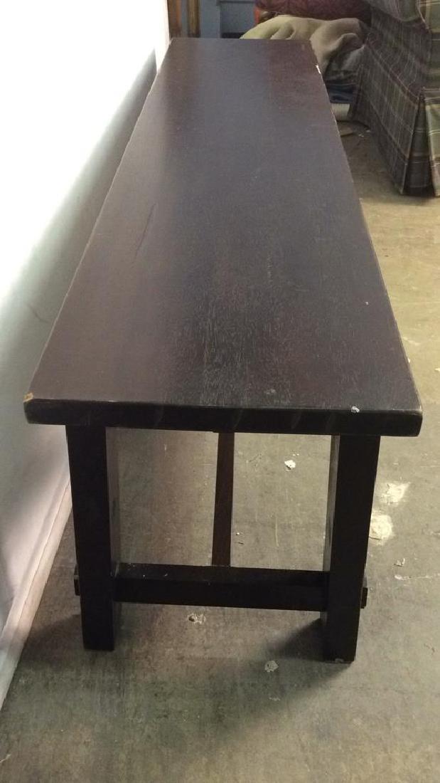 Dark Brown Toned Wooden Bench - 5