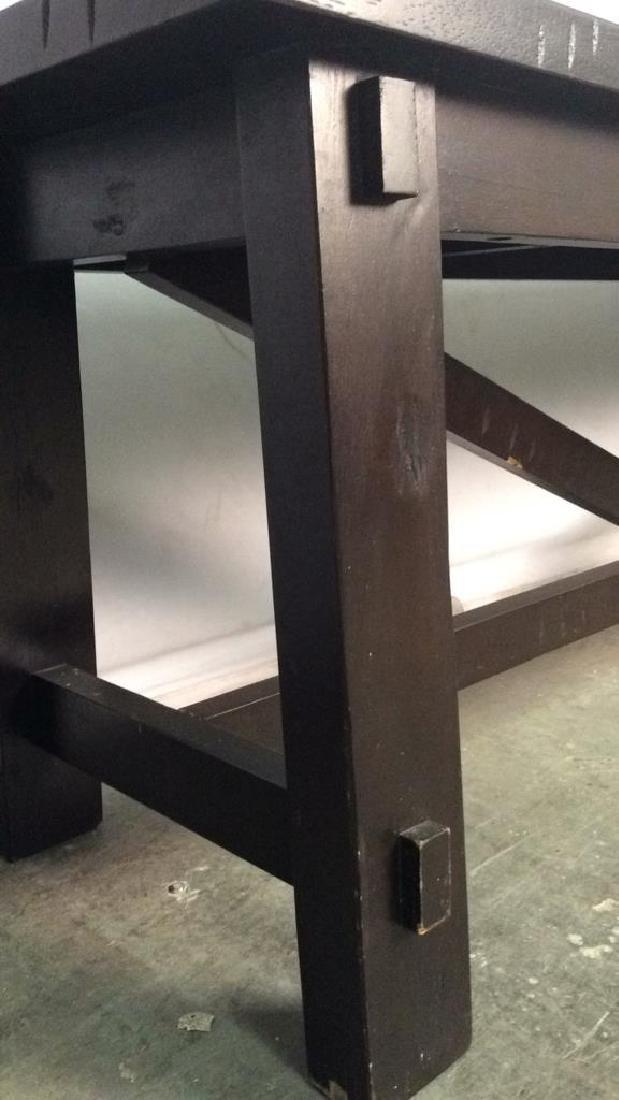 Dark Brown Toned Wooden Bench - 6