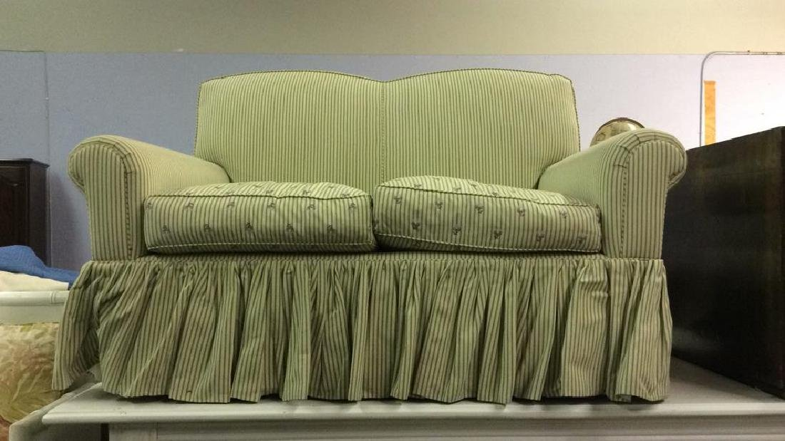 A RUDIN Designer Striped Skirted Loveseat