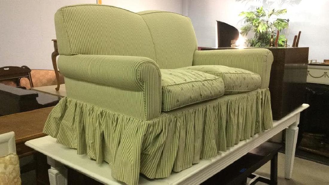 A RUDIN Designer Striped Skirted Loveseat - 2