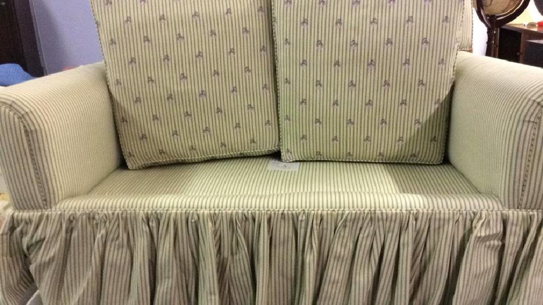 A RUDIN Designer Striped Skirted Loveseat - 4