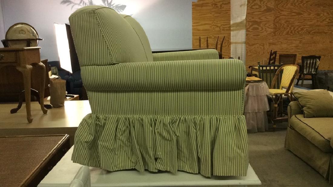 A RUDIN Designer Striped Skirted Loveseat - 8