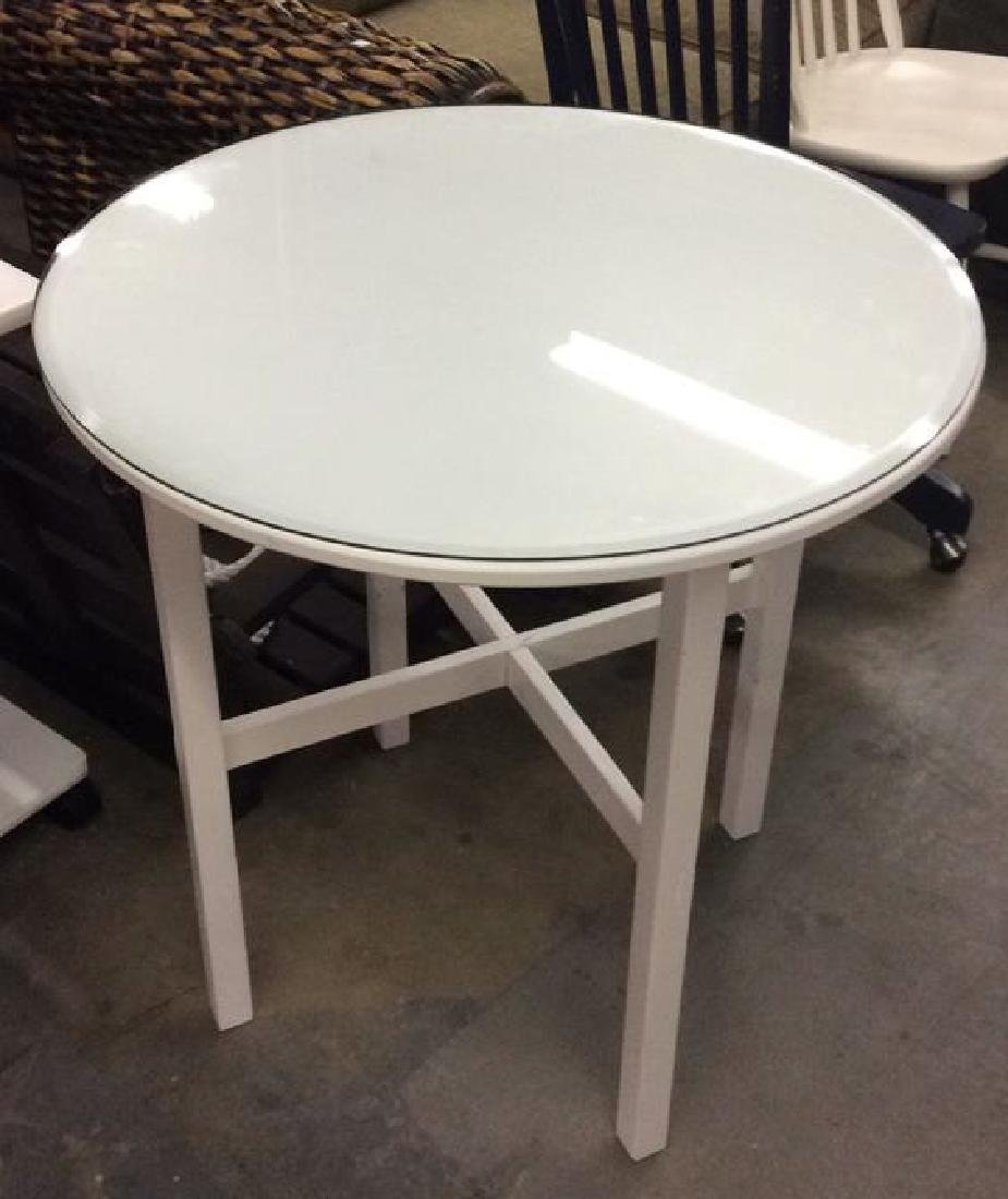 White Toned Circular Wooden Table W Glass Top
