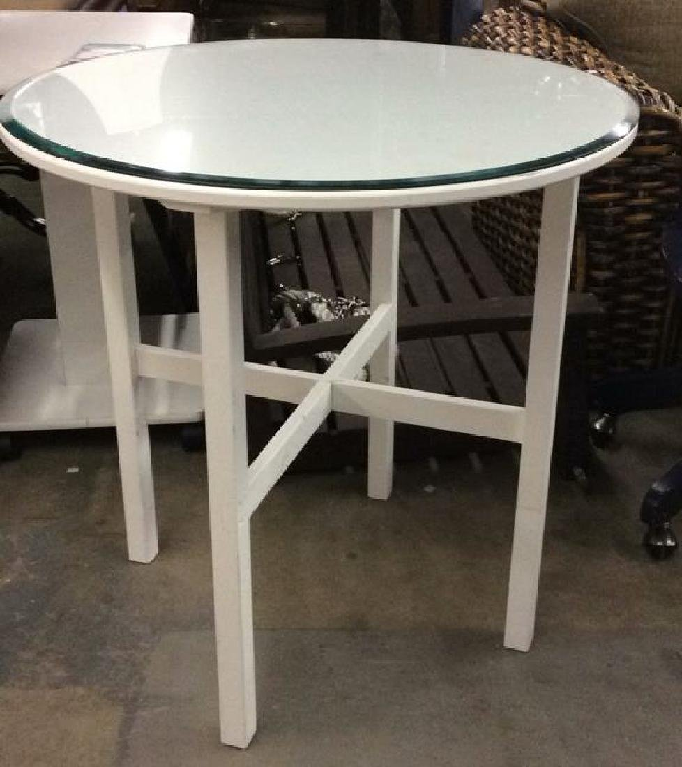 White Toned Circular Wooden Table W Glass Top - 2