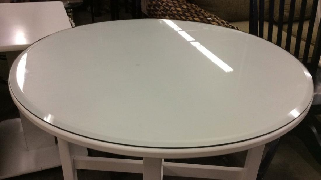 White Toned Circular Wooden Table W Glass Top - 3