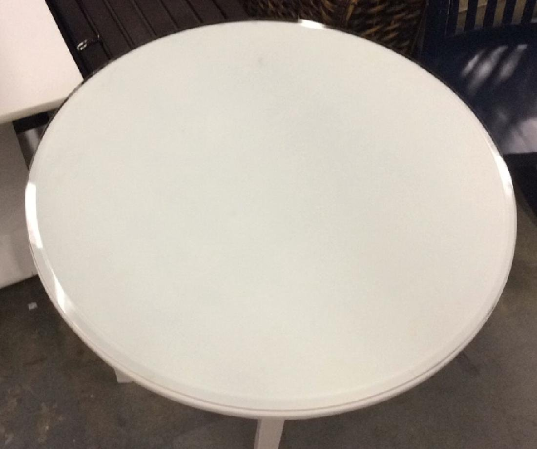 White Toned Circular Wooden Table W Glass Top - 4
