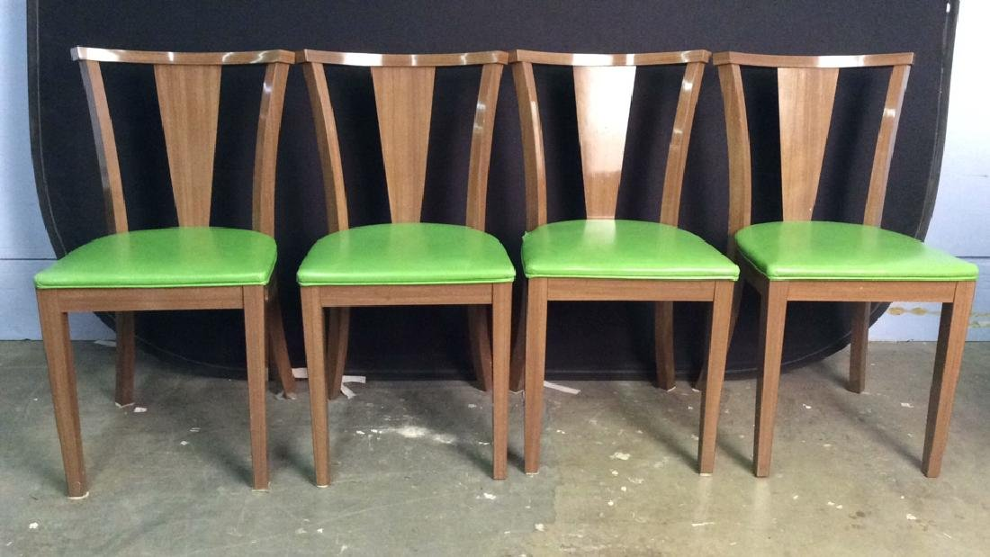 Lot 4 Vintage Lime GreenCushioned Wood Side Chairs