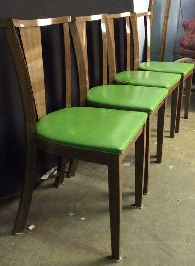 Lot 4 Vintage Lime GreenCushioned Wood Side Chairs - 2