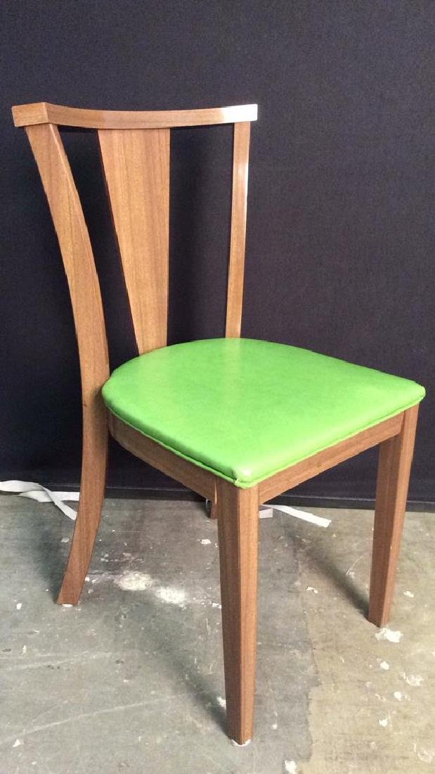 Lot 4 Vintage Lime GreenCushioned Wood Side Chairs - 4