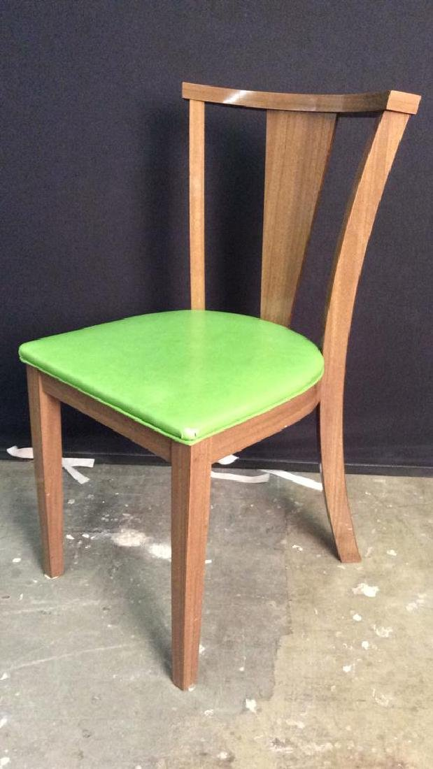 Lot 4 Vintage Lime GreenCushioned Wood Side Chairs - 5