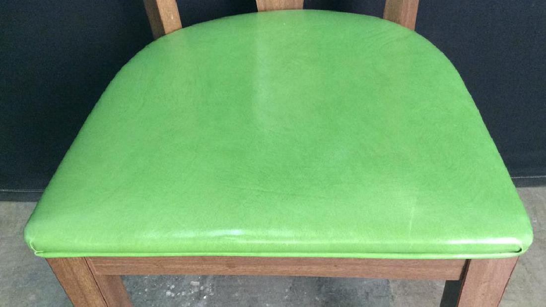 Lot 4 Vintage Lime GreenCushioned Wood Side Chairs - 7