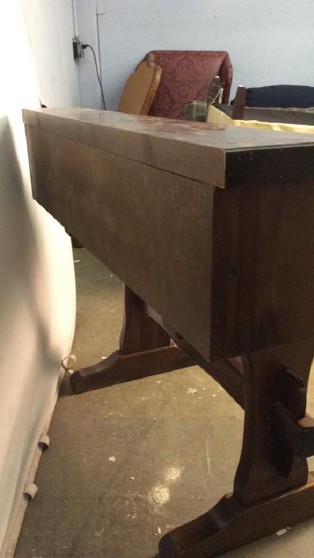 Vintage Wooden Writers Desk Trestle Style - 10