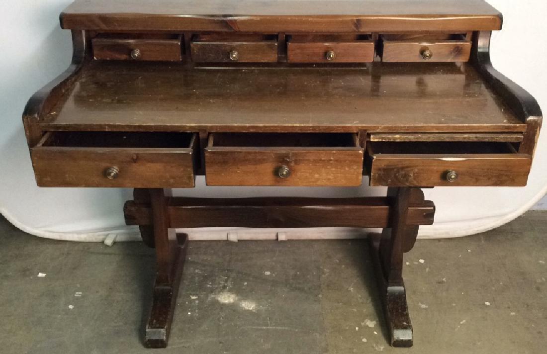 Vintage Wooden Writers Desk Trestle Style