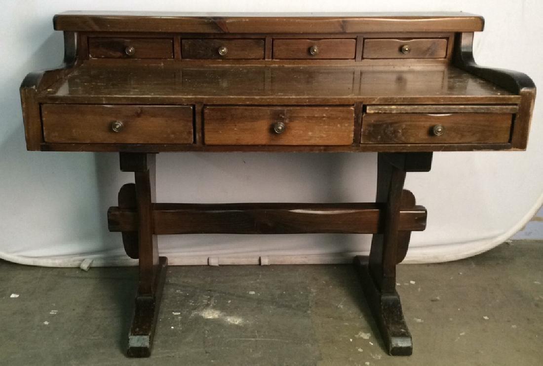 Vintage Wooden Writers Desk Trestle Style - 2