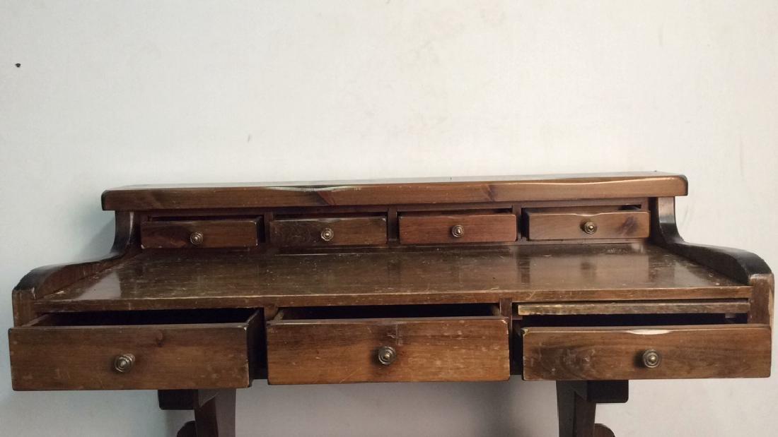 Vintage Wooden Writers Desk Trestle Style - 4