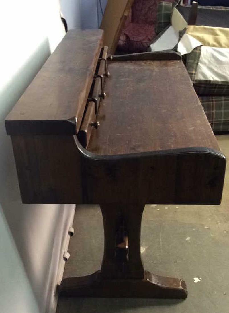 Vintage Wooden Writers Desk Trestle Style - 6
