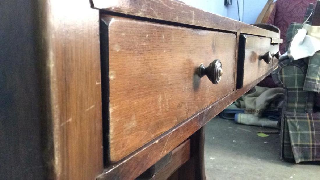 Vintage Wooden Writers Desk Trestle Style - 9
